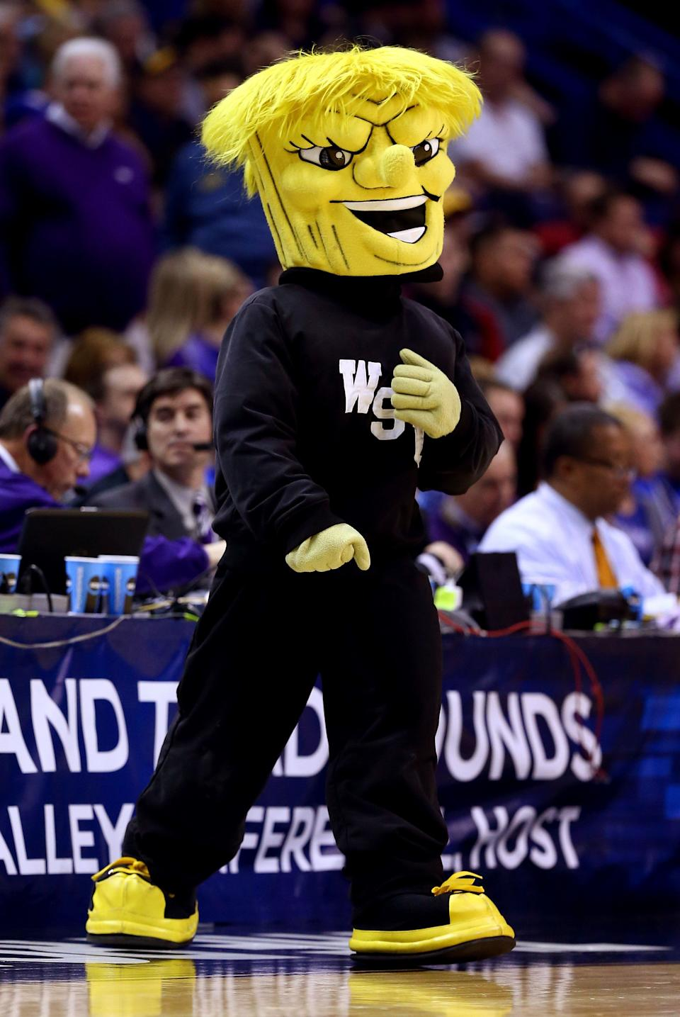 ST LOUIS, MO - MARCH 21: The Wichita State Shockers mascot, WuShock, performs during the second round of the 2014 NCAA Men's Basketball Tournament against the Cal Poly Mustangs at the Scottrade Center on March 21, 2014 in St Louis, Missouri.  (Photo by Andy Lyons/Getty Images)