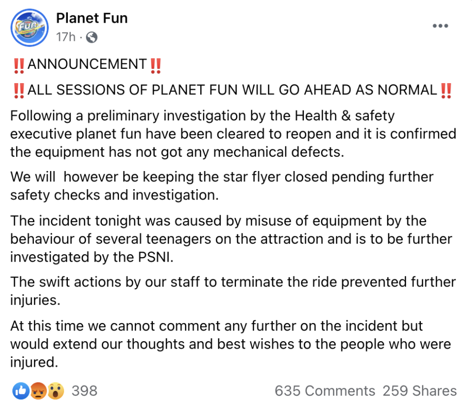 In a Facebook post, Planet Fun said the incident had been caused by misuse of equipment by several teenagers on the attraction. (Facebook/Planet Fun)