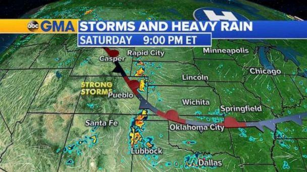 PHOTO: Strong storms are possible in the Rocky Mountains on Saturday night. (ABC News)