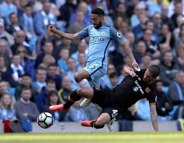 <p>Gael Clichy brings the ball away for City</p>