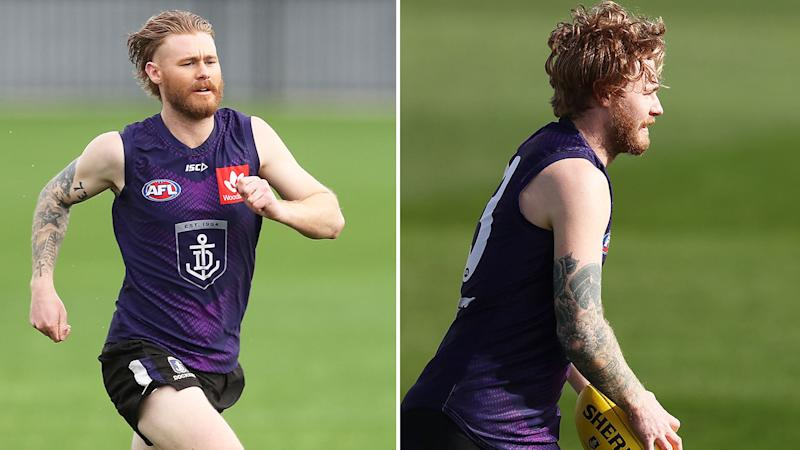Pictured here, Cam McCarthy at Fremantle Dockers training.