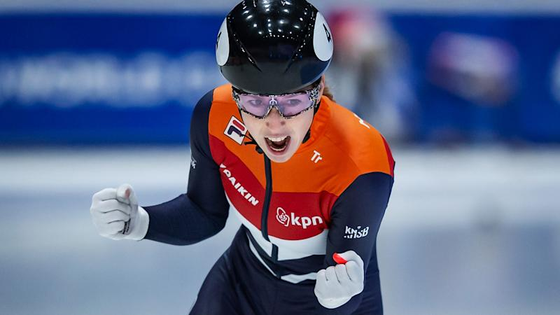 Lara van Ruijven, pictured here in action at the ISU World Cup Short Track in February 2020.