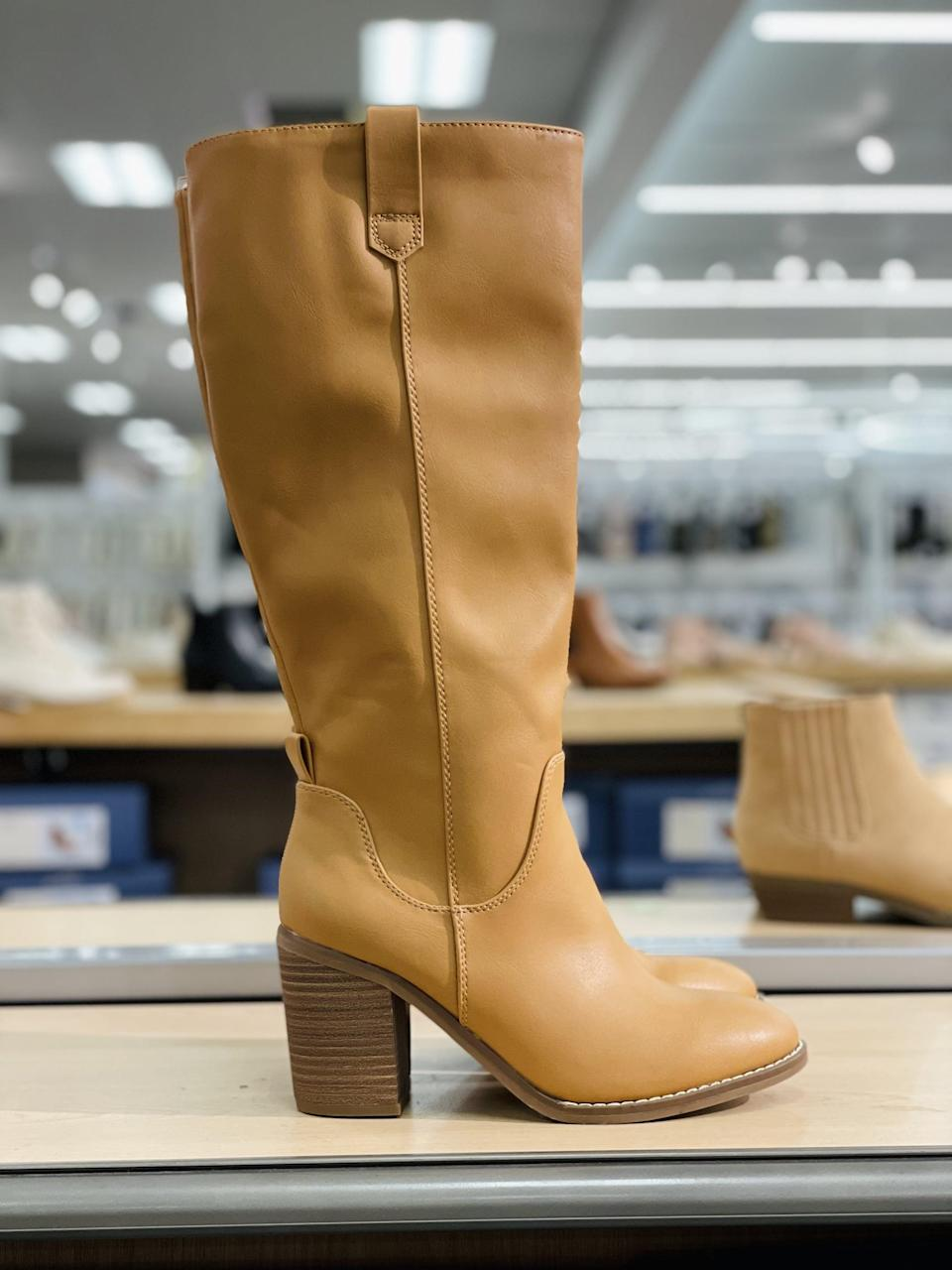 <p>I've been looking for a style like these <span>Universal Thread Davinia Heeled Riding Boots</span> ($45) for over a month now, and I'm so thrilled to find an affordable option. These will look amazing with fall dresses. They also come in black.</p>