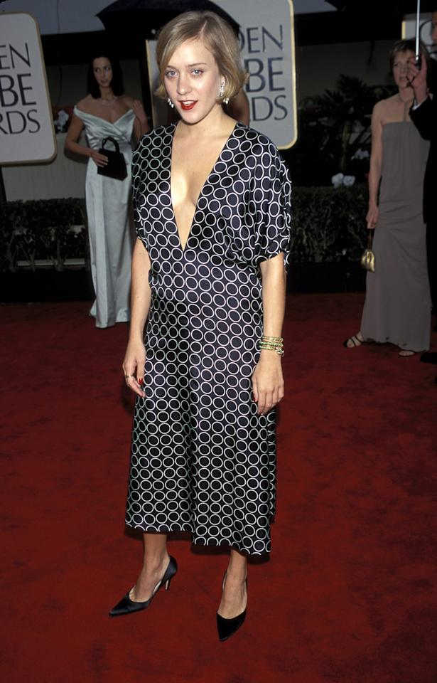 Even in 2000 Chloe Sevigny was a fashion rebel in this tea-length printed dress with plunging neckline.