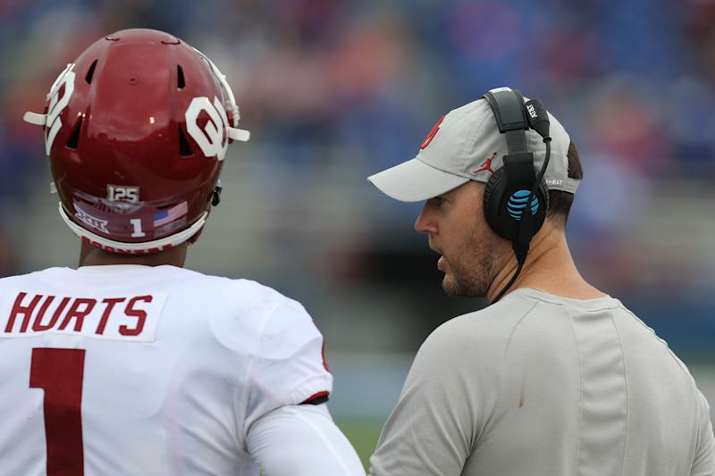Oklahoma head coach Lincoln Riley has received great play from Jalen Hurts so far. (Getty Images)
