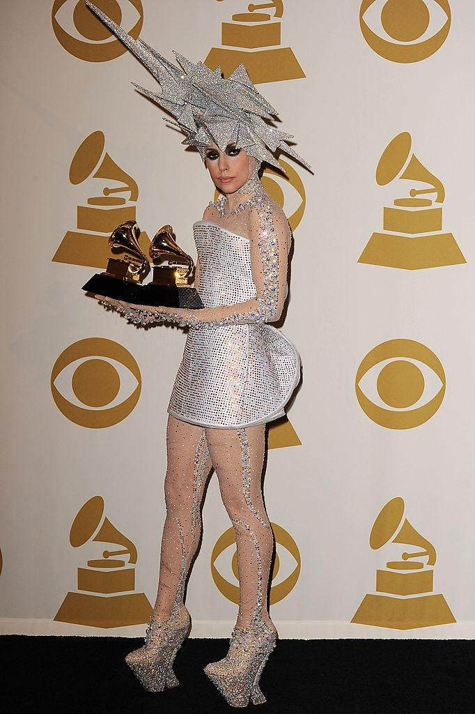 "<p>During the early years of Lady Gaga's fame, her red carpet looks were intentionally puzzling and a huge part of her brand. However, the ""Fame Monster"" singer's 2010 Grammy Awards dress isn't something we can in good conscience let slide. (Image via Getty Images)</p>"