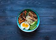 """<p>Dry ramen noodle packages are one of those <a href=""""https://www.thedailymeal.com/eat/grocery-shelf-life?referrer=yahoo&category=beauty_food&include_utm=1&utm_medium=referral&utm_source=yahoo&utm_campaign=feed"""" rel=""""nofollow noopener"""" target=""""_blank"""" data-ylk=""""slk:groceries with a long shelf life"""" class=""""link rapid-noclick-resp"""">groceries with a long shelf life</a>. If you want to use yours up and jazz them up as well, consider adding tofu, an egg and avocado into your bowl.</p> <p><a href=""""https://www.thedailymeal.com/recipes/tofu-avocado-bowl-recipe?referrer=yahoo&category=beauty_food&include_utm=1&utm_medium=referral&utm_source=yahoo&utm_campaign=feed"""" rel=""""nofollow noopener"""" target=""""_blank"""" data-ylk=""""slk:For the Tofu Avocado Bowl recipe, click here."""" class=""""link rapid-noclick-resp"""">For the Tofu Avocado Bowl recipe, click here.</a></p>"""