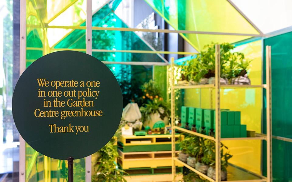 On trend: A stained-glass greenhouse containing popular houseplants is on display at the London site - Rii Schroer