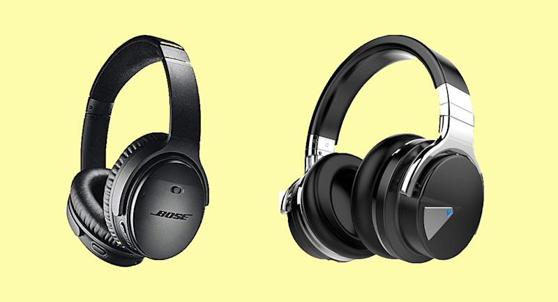 (Left to right) Bose QuietComfort 35 II Wireless Bluetooth Headphones, Cowin E7 Active Noise Cancelling Headphones Bluetooth Headphones. (Photo: Amazon)