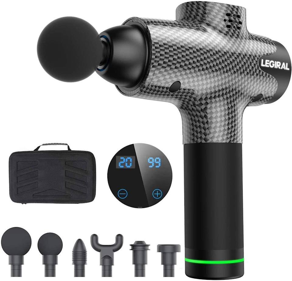 """<strong>Rating: </strong>It has a 4.8-star rating.<br /><strong>Speed: </strong><a href=""""https://amzn.to/2DUkt7e"""">This massager</a> has a24V brushless motor and 20 adjustable speed settings.<br /><strong>Charge: </strong>With a2500mAh rechargeable lithium battery, this massager can handle sixhours of working time at low speed and takes up to two hours to charge.<br /><strong>Need-To-Know Features: </strong>You'll find this massage gun has six<strong></strong>replacement heads that can help you relax the right muscle.<br /><strong>$$$:</strong> <a href=""""https://amzn.to/2DUkt7e"""" target=""""_blank"""" rel=""""noopener noreferrer"""">Find it for $130 at Amazon</a>."""