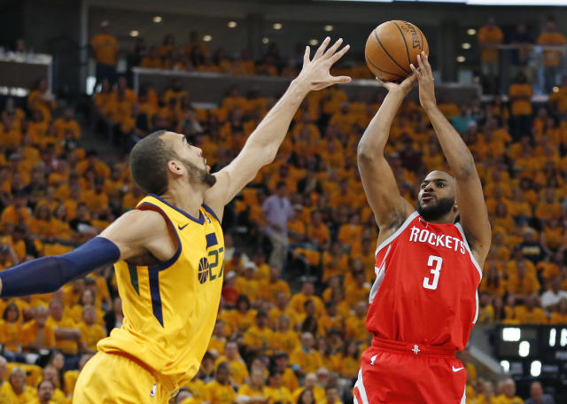 Chris Paul nearly had a triple-double to lead the Rockets to a 3-1 series lead. (AP Photo/Rick Bowmer)