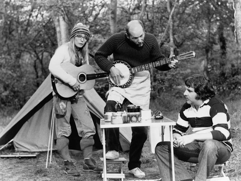 Steadman as Candice Marie, Roger Sloman as Keith and Anthony O'Donnell as Ray in Mike Leigh's classic camping film 'Nuts in May' (1976)Alamy