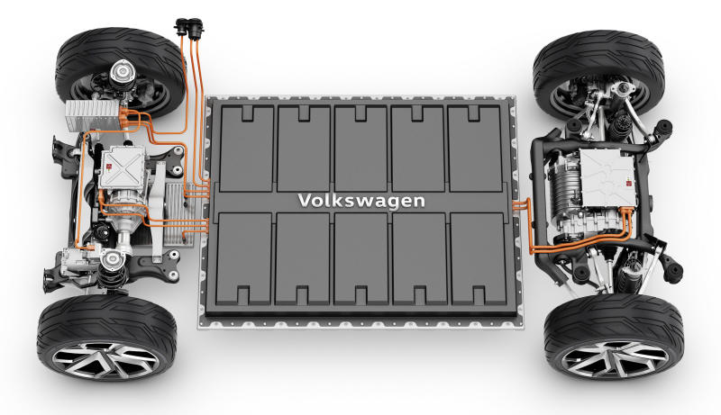 """A view of the MEB """"platform"""" from above, showing 2 electric motors and a big battery pack."""