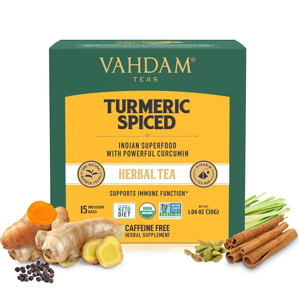 """<p>""""During the colder months, I love the ritual of afternoon tea. Vadham tea has several different non-caffeinated teas but this <span>Turmeric Spiced Herbal Tea</span> ($10, originally $12) is just the perfect cozy drink with a bit of honey."""" - LH</p>"""