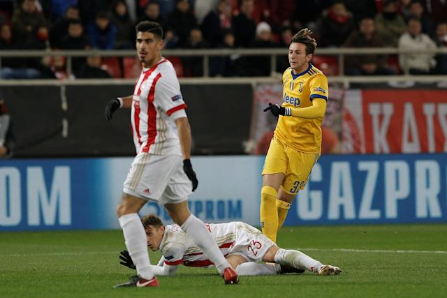 Soccer Football - Champions League - Olympiacos vs Juventus - Karaiskakis Stadium, Piraeus, Greece - December 5, 2017 Juventus' Federico Bernardeschi scores their second goal REUTERS/Alkis Konstantinidis