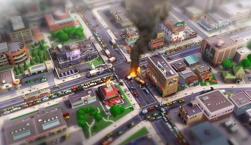 """In this image provided by Electronic Arts/Maxis, a concept art image of an accident scene in an urban area is shown as concept art for the video game """"SimCity.""""  The creators of """"SimCity"""" are hoping players don't move on after connectivity issues plagued the game's launch last week. The updated edition of the 24-year-old metropolis-building franchise released last Tuesday, March 5, 2013, requires players to be online _ even if they're constructing virtual cities in the single-player mode. Several gamers weren't able to log on after """"SimCity"""" launched, prompting some retailers to stop selling the Electronic Arts Inc. game. (AP Photo/Electronic Arts/Maxis)"""