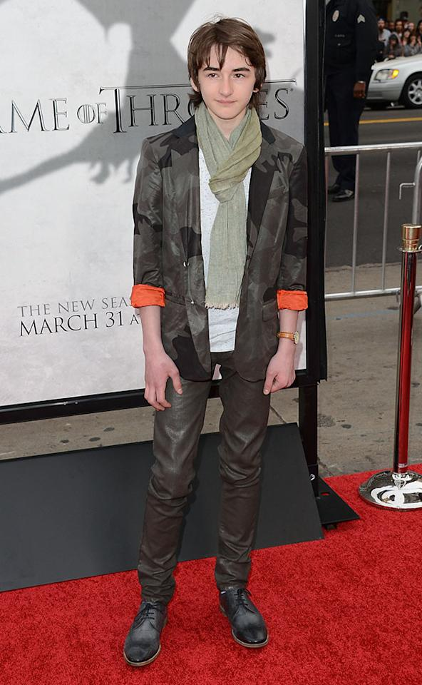 "Isaac Hempstead arrives at the premiere of HBO's ""Game of Thrones"" Season 3 at TCL Chinese Theatre on March 18, 2013 in Hollywood, California."