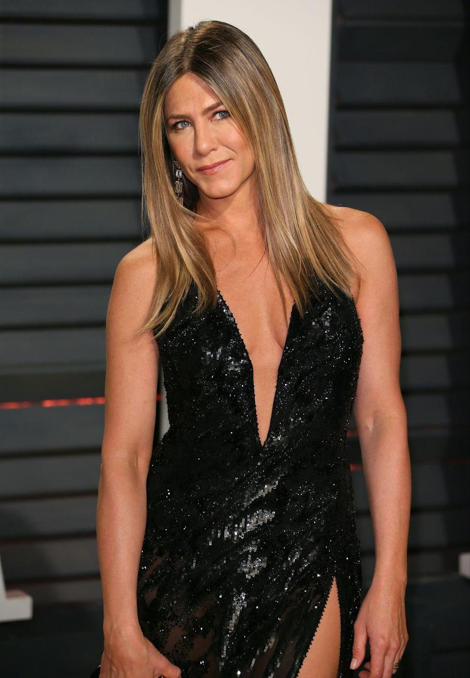 """<p>Aniston told <a href=""""https://people.com/food/how-to-get-jennifer-anistons-amazingly-toned-arms/"""" rel=""""nofollow noopener"""" target=""""_blank"""" data-ylk=""""slk:People"""" class=""""link rapid-noclick-resp"""">People</a> that she's big on using her own body weight for workouts. Or, if she's at the gym, she'll add a little weight. """"Grab little five-pound weights if you have nothing else, and just move them around,"""" she said.</p>"""