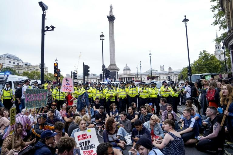 The demonstrations come ahead of an intense political week in which Johnson's opponents will go to court to block his move to suspend parliament (AFP Photo/Niklas HALLE'N)