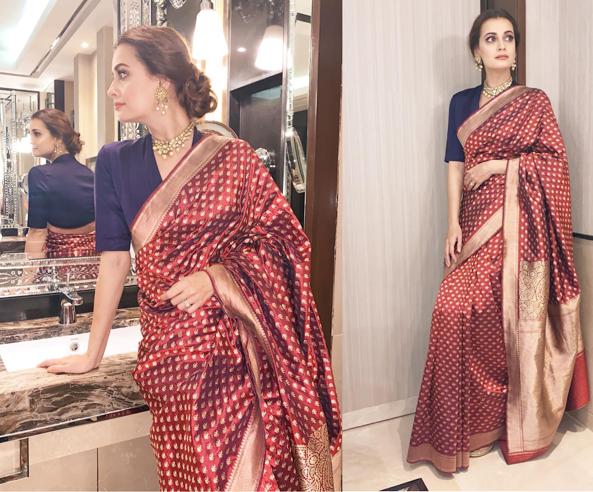 <p>Dia Mirza in this saree, is basically, all of us. Don't we all have that one treasured saree, a hand-me-down from our mothers, that triumphs literally every piece of garment we have in our wardrobe and brings out the best in us, effortlessly? The gorgeous Barasari weave, as we understand from the former Miss India's Gram account originally belonged to her mother. We may have seen the diva is numerous designer clothes, but draped in this 6 yards of timelessness, Dia is looks her all-time best. </p>