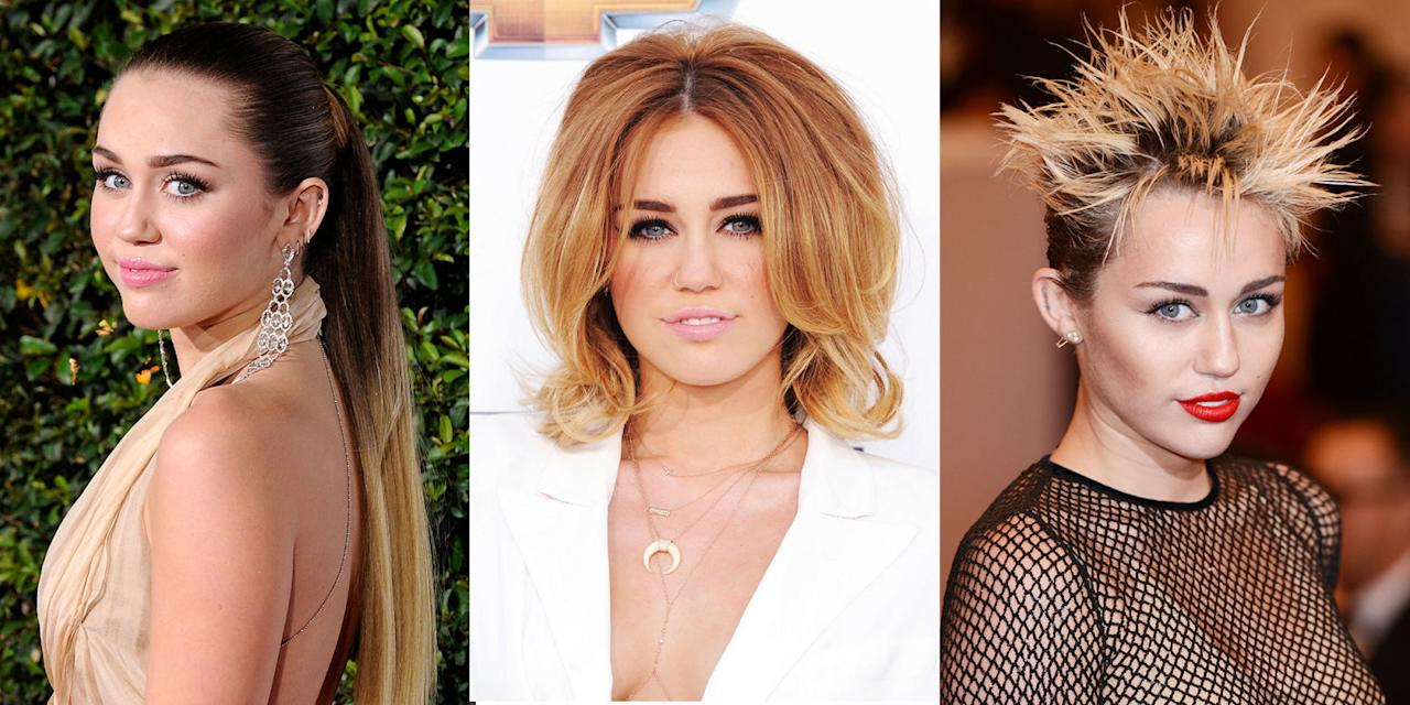 <p>From Disney waves to a punk pixie, no hair look is too extreme for Miley. Like any seasoned beauty chameleon, the pop star has made a few missteps along that way (December 2015 was a dark time, okay?), but she bounced back. Here, a long walk down Miley-hair-history lane. </p>