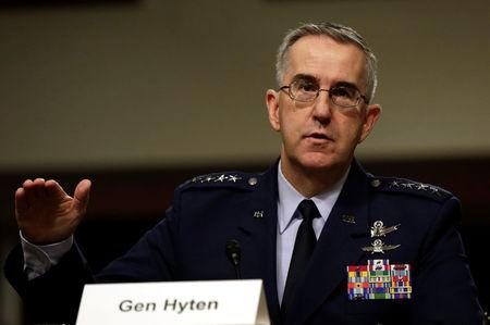 U.S. Air Force General John Hyten, Commander of U.S. Strategic Command, testifies in a Senate Armed Services Committee hearing on Capitol Hill in Washington