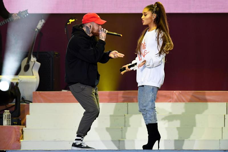 Devastation: Ariana Grande performing with Mac Miller (Getty Images/Dave Hogan for One Love Manchester)