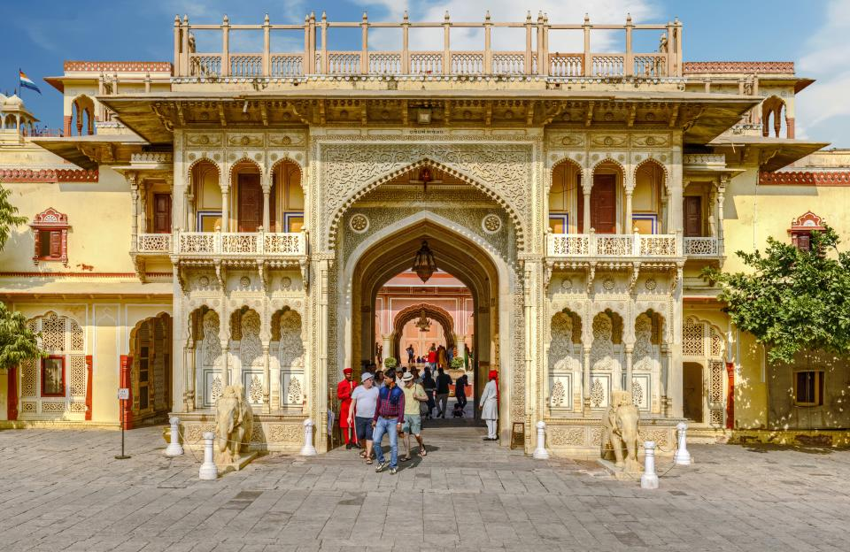 City Palace, Jaipur, which includes the Chandra Mahal and Mubarak Mahal palaces and other buildings, is a palace complex in Jaipur, the capital of the Rajasthan state, India.