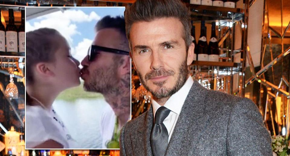 David Beckham has been criticised by Piers Morgan for kissing his daughter Harper on the lips [Photo: Getty/Instagram]