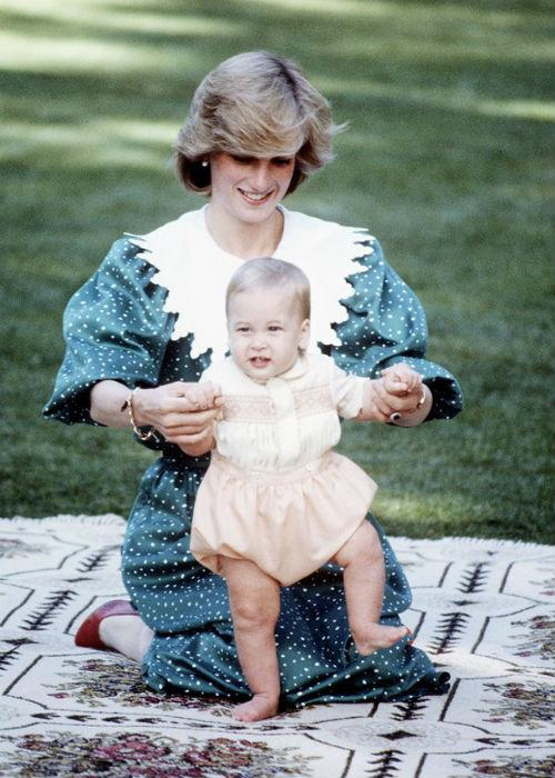 Princess Diana with an adorable baby William during their 1983 official visit to New Zealand.