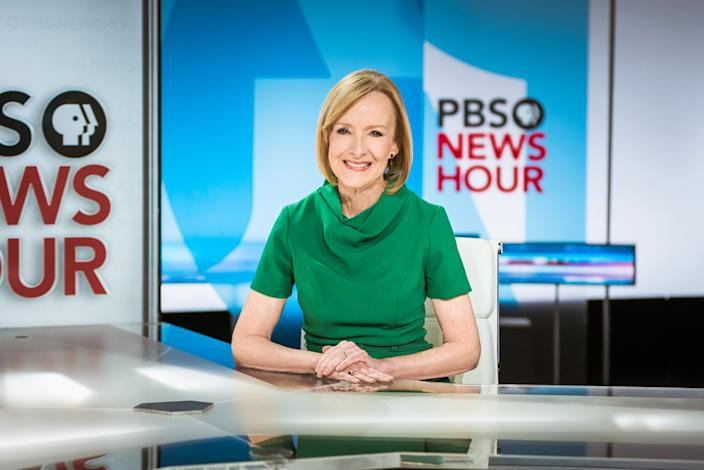 "News anchor Judy Woodruff on the set of the ""PBS NewsHour"""