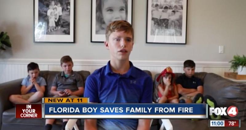 Austin West, 12, was able to get his three brothers and sister to safety after spark from a mini fridge ignited a fire. (Photo: FOX 4)