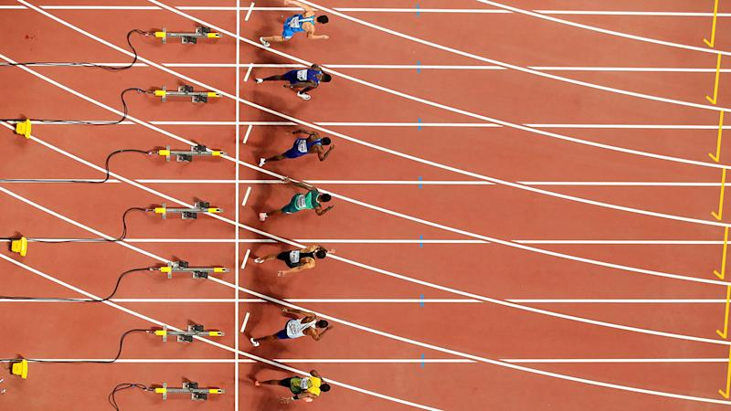 Starting block cameras, pictured here at the start of the 100m final.