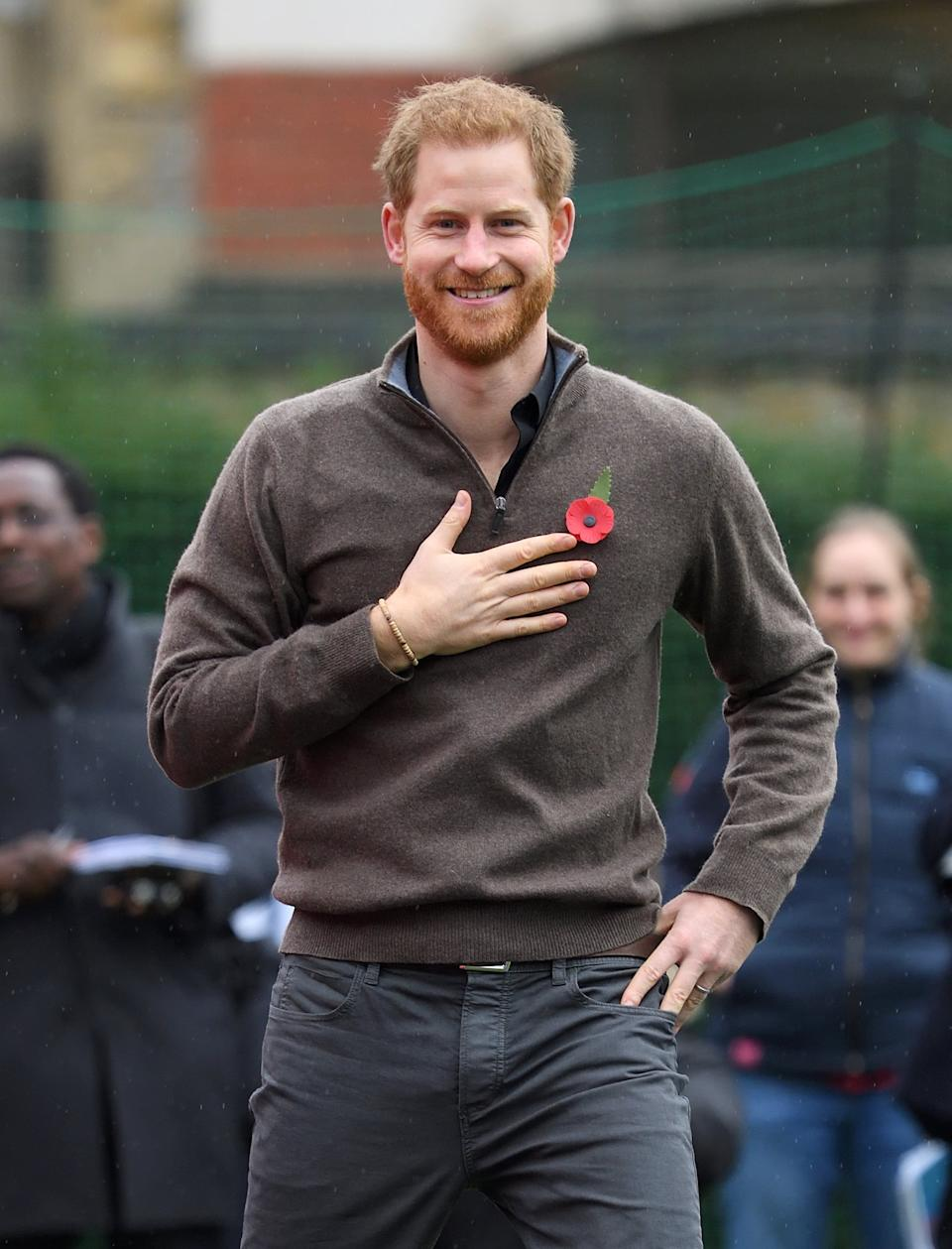 LONDON, ENGLAND - OCTOBER 29: Prince Harry, Duke of Sussex attends the launch of Team UK for the Invictus Games The Hague 2020 at Honourable Artillery Company on October 29, 2019 in London, England. HRH is Patron of the Invictus Games Foundation. (Photo by Karwai Tang/WireImage)
