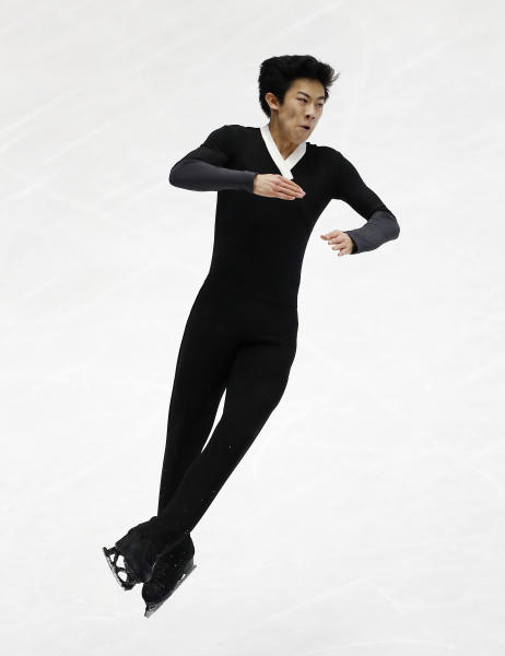 FILE - In this March 24, 2018, file photo, United States' Nathan Chen performs during men's free skate at the Figure Skating World Championships in Assago, near Milan, Italy. Chen, master of the quad, is on the verge of skating off with his fourth consecutive title at the U.S. Championships this week. (AP Photo/Antonio Calanni, File)
