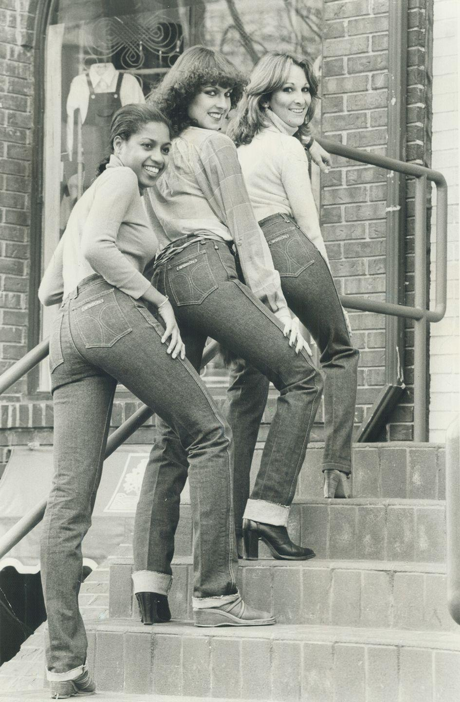 <p>Models wearing Sasson jeans, which were known for being skintight (especially in the waist). </p>