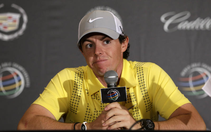 Rory McIlroy, of Northern Ireland, pauses during a news conference at the World Golf Championships Cadillac Championship, in Doral, Fla., Wednesday March 6, 2013. McIlroy says he should have finished his second round at the Honda Classic, and it was not the right thing to do to walk out after eight holes of his second round. (AP Photo/Alan Diaz)