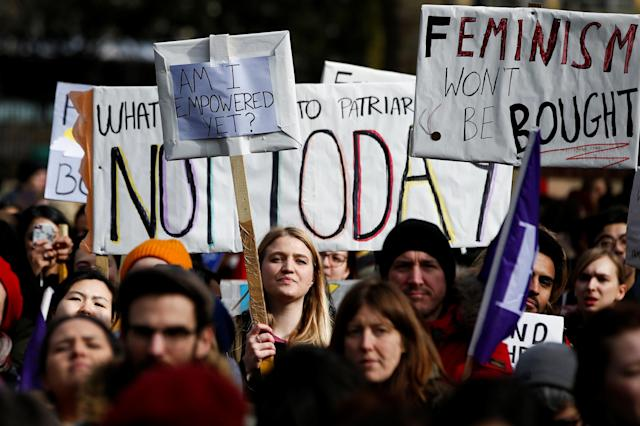 <p>People attend a women's rights rally in central London, Britain. March 8, 2018. (Photo: Henry Nicholls/Reuters) </p>