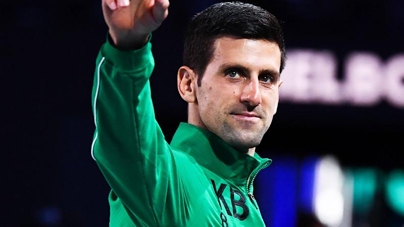 Novak Djokovic, pictured after winning the 2020 Australian Open, paid tribute to Kobe Bryant in his speech after the match.