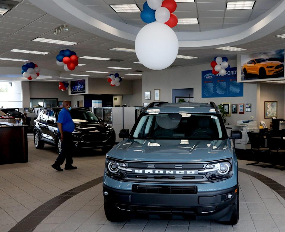 A 2021 Ford Bronco Sport in the showroom at the car dealership in Southfield on June 8, 2021.