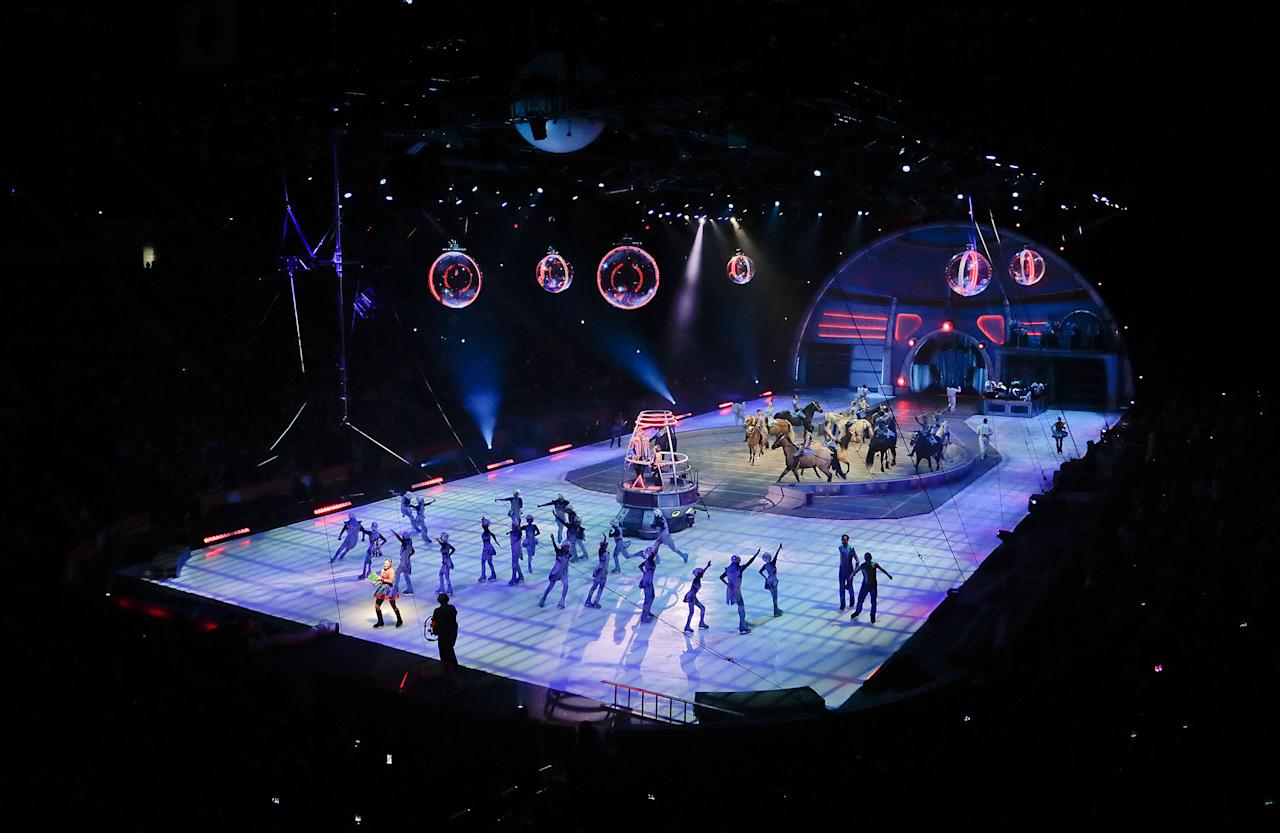 <p>The final show of the Ringling Bros. and Barnum & Bailey Circus begins, Sunday, May 21, 2017, in Uniondale, N.Y. (AP Photo/Julie Jacobson) </p>