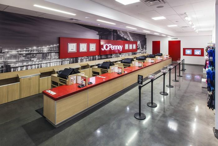 The checkout counter at a J.C. Penney store.