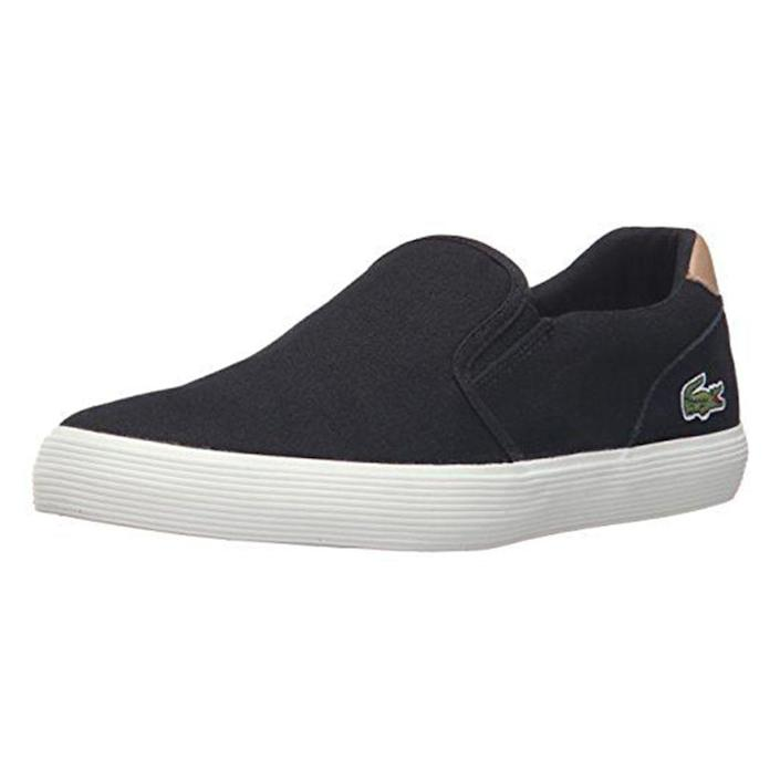 """<p><strong>Lacoste</strong></p><p>amazon.com</p><p><a href=""""https://www.amazon.com/dp/B01E5D02CS?tag=syn-yahoo-20&ascsubtag=%5Bartid%7C2139.g.20087309%5Bsrc%7Cyahoo-us"""" rel=""""nofollow noopener"""" target=""""_blank"""" data-ylk=""""slk:BUY IT HERE"""" class=""""link rapid-noclick-resp"""">BUY IT HERE</a></p><p>For a slip-on sneaker that goes with pretty much everything, you can't go wrong with these from Lacoste. These are especially good for wearing with chino pants. </p>"""