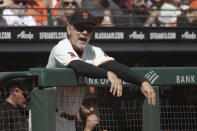San Francisco Giants manager Bruce Bochy reacts to an umpire's call during the third inning of a baseball game between the Giants and the Los Angeles Dodgers in San Francisco, Sunday, Sept. 29, 2019. (AP Photo/Jeff Chiu)