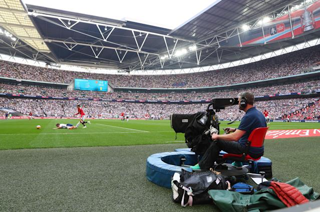 A television camera filming the action during The Emirates FA Cup Semi Final between Manchester United and Tottenham Hotspur at Wembley Stadium on April 21, 2018.