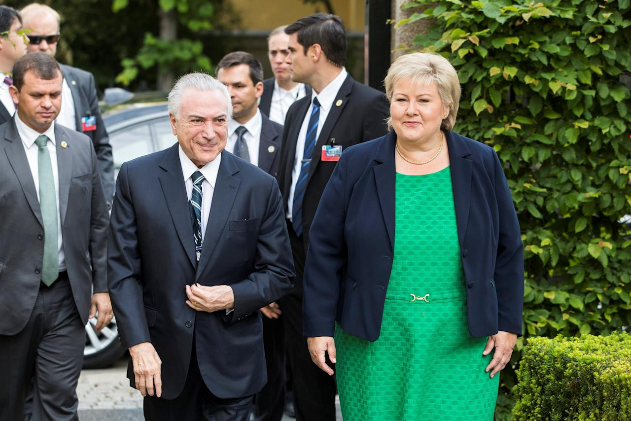Norway's Prime Minister Erna Solberg meets with Brazil's President Michel Temer in Oslo, Norway June 23, 2017. NTB Scanpix/Hakon Mosvold Larsen/via REUTERS        ATTENTION EDITORS - THIS IMAGE WAS PROVIDED BY A THIRD PARTY. NORWAY OUT. NO COMMERCIAL OR EDITORIAL SALES IN NORWAY.