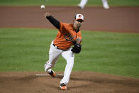 Baltimore Orioles starting pitcher Jorge Lopez delivers a pitch during the first inning of a baseball game against the Tampa Bay Rays, Saturday, Sept. 19, 2020, in Baltimore. (AP Photo/Nick Wass)