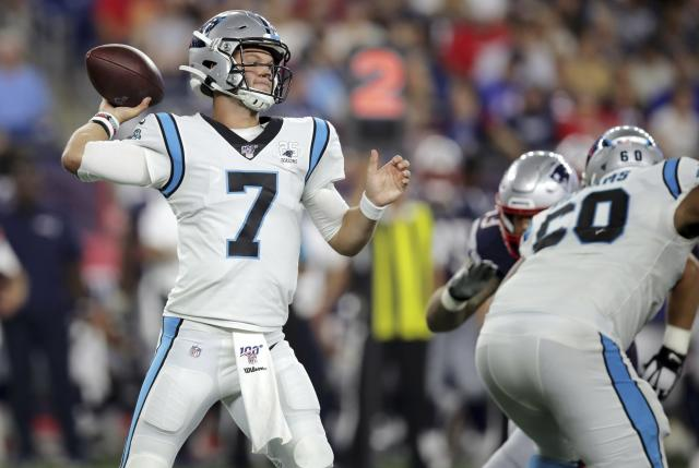 The Carolina Panthers will start second-year quarterback Kyle Allen on Sunday. (AP)