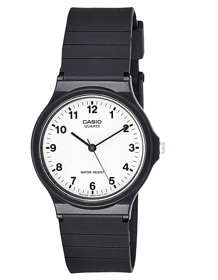 black men's casio watch with resign strap band and white face