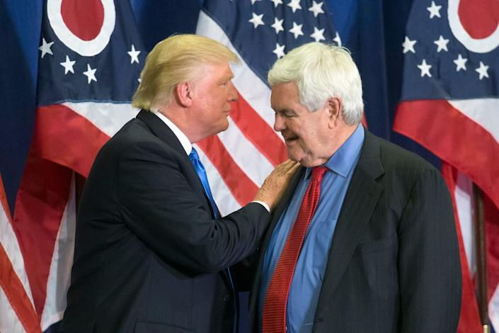 Presidential candidate Donald Trump and former House Speaker Newt Gingrich at a rally in Cincinnati on July 6, 2016.